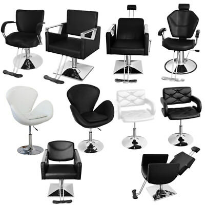 Reclining Classic Barber Chair Styling Salon Beauty Hairdressing In Black White