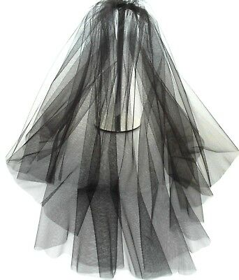 Black Veil Wedding Any Length 2 Tier Plain Long Short LBV156 LB Wedding Veils UK