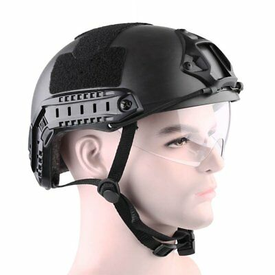 Tactical Black Airsoft Paintball Climbing FAST Helmet & Goggle Protective Combat