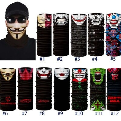 Joker Skull Motorcycle Cycling Neck Scarf Face Mask Bandana Ski Headband US FAST
