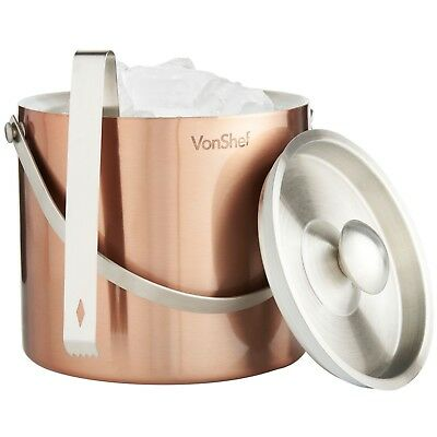VonShef 3 L Copper Double Walled Insulated Stainless Steel Ice Bucket Lid