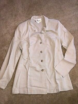 Womens Size Medium Motherhood Light Khaki Maternity Blazer Jacket Button Up Fron
