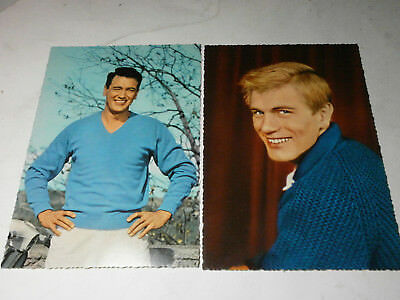 2 Starpostkarten (Rock Hudson, Adam Faith)