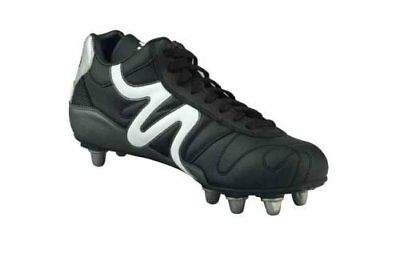 Mitre Italia 11 Mid Cut Soft Ground Professional Rugby Boots Black/Grey - UK 3