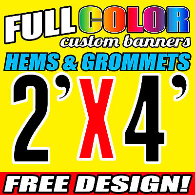 Custom Banner 16oz Vinyl / Flex Outdoor 2' X 4' FT Personalized Advertise Signs