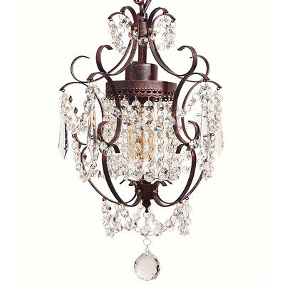 Starthi Bronze Mini Crystal Chandelier, Wrought Iron Ceiling Pendant Light