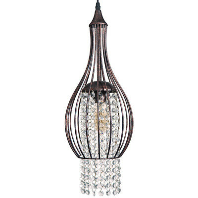 Starthi 1-Light Mini Crystal Chandelier Antique Bronze Cage Ceiling Light