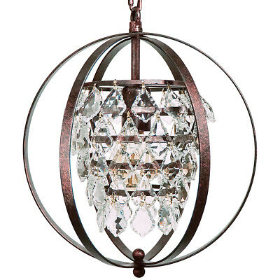 Starthi 1-Light Mini Crystal Chandelier Globe Antique Bronze Pendant Light