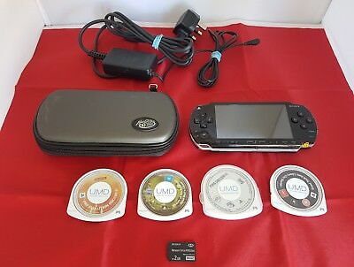 Sony PSP 1001 Handheld System Bundle 2gb Memory Card 4 Games Retro