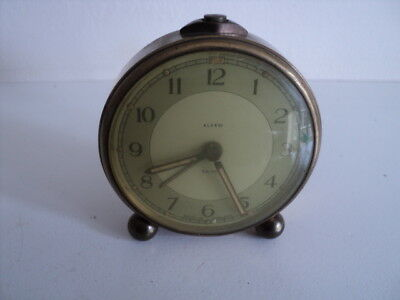 Very Rare Vintage /Antique Small Smiths Brass Alarm Clock Working
