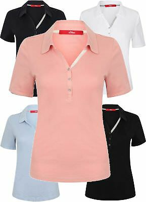 Ladies Polo Pique 100% Cotton Top T Shirt Tee S Oliver New Womens Button Collar