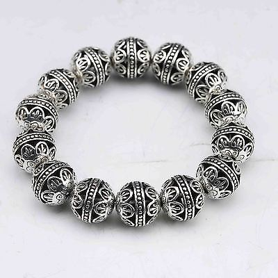 Collectable Tibet Silver Hand Carved Hollow small ball Bracelet  G943/