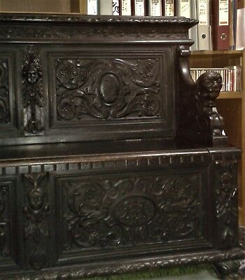 19th Century Antique Carved Renaissance Sofa Chest Furniture