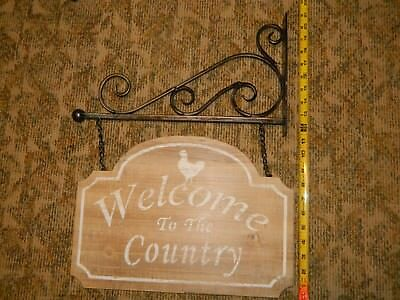 """Large 21"""" x 16"""" Wood & Wrought Iron Post Wall Mounted Double Sided Sign Chicken"""
