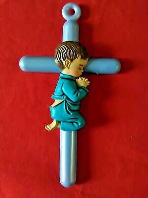 "Religious Baby Birth Baptism Gift 6"" Blue Cross With Praying Boy Wall Decor (A3)"