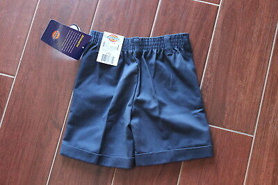 New Dickies Girls Navy Blue Shorts Size 4 Rg School Uniform Pleated Front Pocket