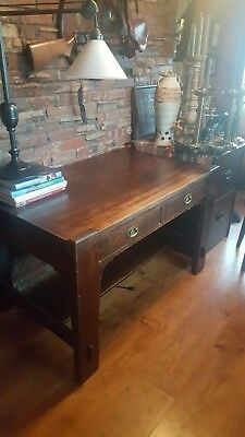 antique charles stickley library desk