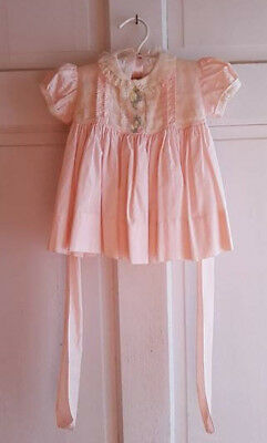 Vintage 50's Baby Girl's Dress Pink Lace Smocking Embroidered Flowers