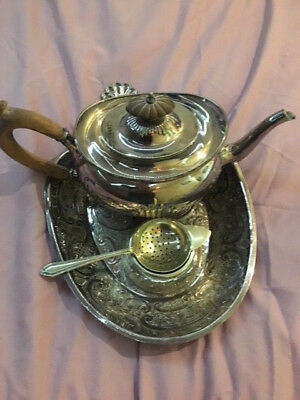 Vintage Silver Plated Tea Pot Tea Strainer And Tray