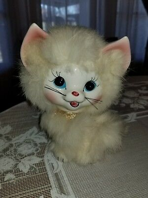 "Vintage Ceramic Cat Figurine White Fur 7"" Tall Made in Japan? 1950's? 1960's?"