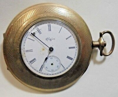 Vintage Pocket Watch Elgin National Watch Co Complete Parts Or Repair Antique