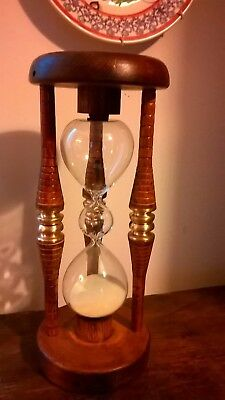 Quirky Unusual Three Tier Glass Old Wooden Mill Bobbins  Glass Sand Timer 5 Mins