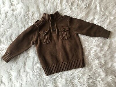 Old Navy 18-24M Toddler Boys Casual Brown Sweater Epaulets/Pockets Long Sleeve