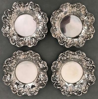 Set of 4 Antique 925 Sterling Silver Ornate Nut Candy Bonbon Dishes Bowls Trays