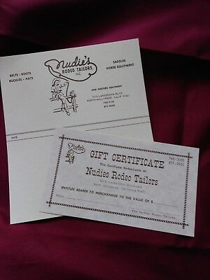 Gift Certificate and shipping label from Nudie's Rodeo Tailors NOS