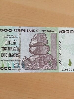 MAKE OFFER ~ 1 Zimbabwe 50 Trillion Dollars($) AA 2008 UNC~S/N AA0***~BEST PRICE