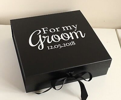 Large Luxury Black Gift Box Personalised Groom Usher Husband Birthday Keepsake