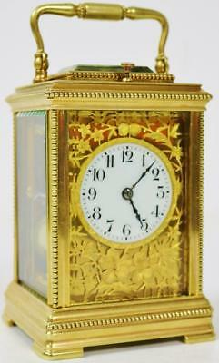Rare Small Antique 19thc French 8 Day Brass & Filigree Repeating Carriage Clock