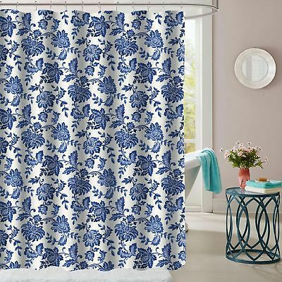 Tuscany Navy Floral Pattern Fabric Bathroom Shower Curtain