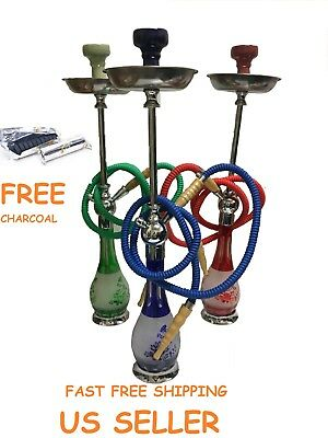 Tall Hookah Glass Water Pipe Vase Tobacco Single Hose Shisha Bong Free Charcoal