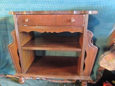 VTG  CHERRY Wood Side Table W/ Side Magazine Rack & Storage Area  antique