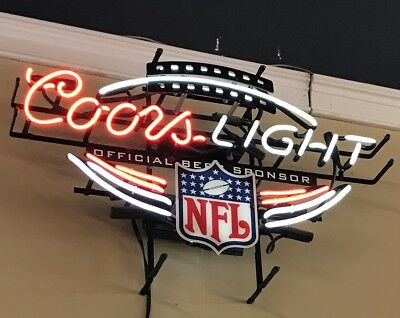 2004 Coors Lighted Neon Beer Sign NFL Official Bee Sponsor- 2 Colors—White & Red