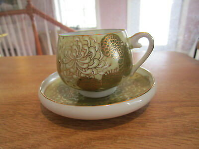 Antique Signed Oriental Handpainted Cup & Saucer - Green w/Gold Accents