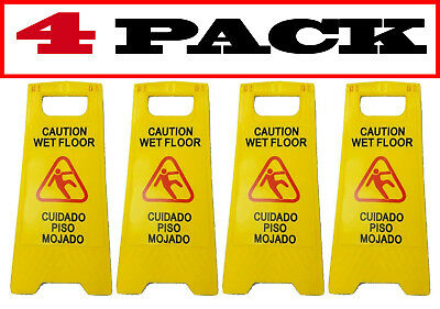 "[4 Pack] JL English&Spanish ""Wet Floor"" Sign ,Case of Two, Bright Yellow,Plastic"