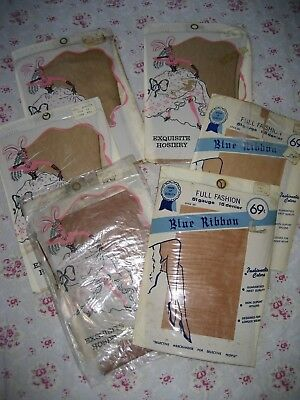 Vintage New Ladies Seamed Lovely Nylon Stockings Size 11 Various Shades 6 In Lot