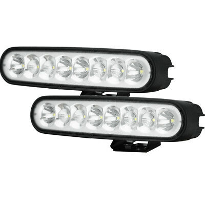 Pair 7inch 80w LED Work Driving Light Bar CREE Spot Flood OFFROAD 4WD Reverse