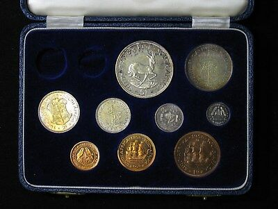 1958 South Africa Proof Set 9 coins Silver & Bronze in Original Case RARE