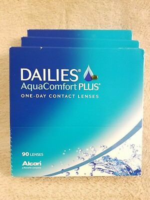 NEW IN BOX 3 Boxes Dailies AquaComfort Plus One-Day Contact Lenses 270 Lenses