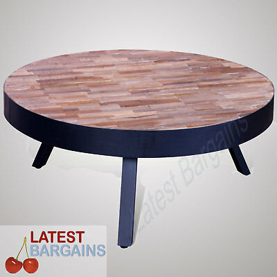 Wooden Coffee Table Round Reclaimed Teak Timber Side Lounge Living Room NEW