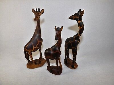 Lot 3 African Carved Wood Giraffes Family Nicely Carved & Painted Artist Signed