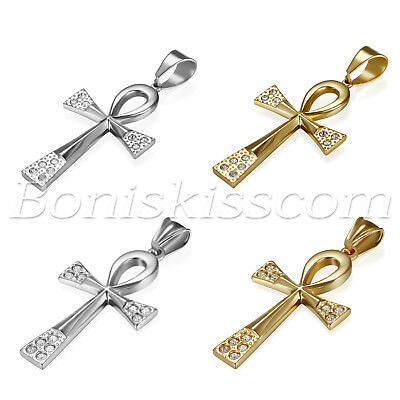 Couples Egyptian Ankh Cross Pendant Men's Women's Stainless Steel Necklace Chain