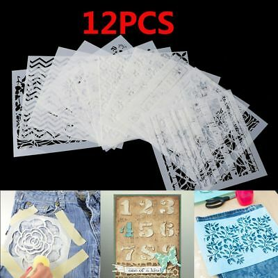 12pcs Layering Stencils for Walls Painting Scrapbooking Stamping Spray Mold DIY