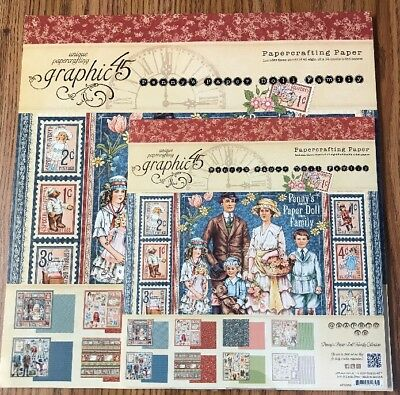 "Lot Graphic 45 Penny's Paper Doll Family 12""x 12"" & 8"" x 8"" Paper Pads"