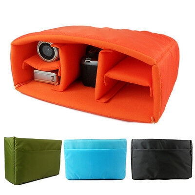 New Waterproof DSLR SLR Camera Bag Padded Insert Case Partition Pouch 4 Dividers