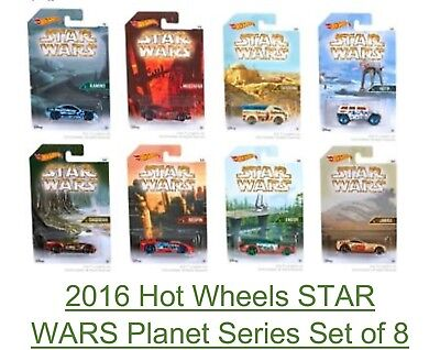 Hot Wheels Star Wars Series Planets, set of 8 Die cast Cars, Brand New