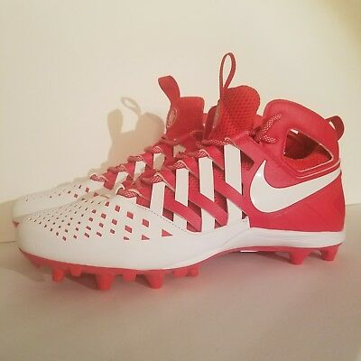 bb043f29975d NIKE HUARACHE V 5 LAX LACROSSE CLEATS White Red 807142-611 Men s size 13